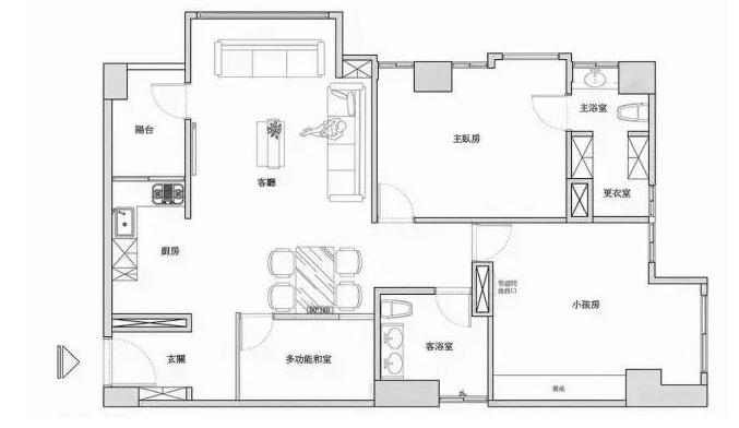 普奔装饰突破常规的空间布局设计案例