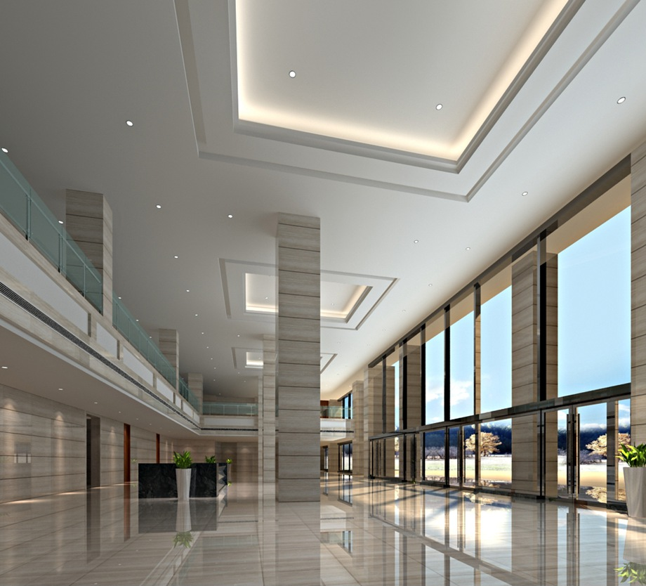 東莞裝修案例天津市寶坻科技中心--大堂辦公樓