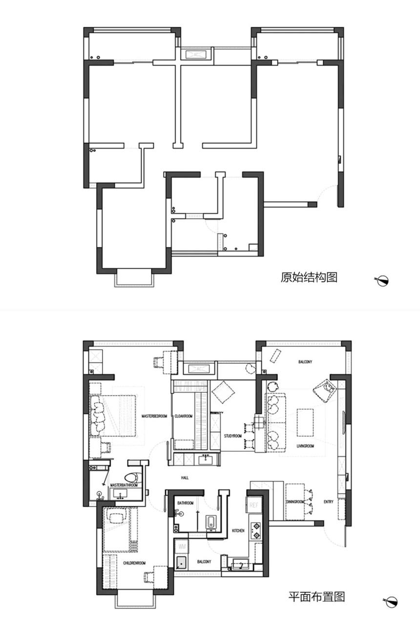 沈阳二手房翻新|95�O北欧风两居室,房间1分为3,彻底消灭空间浪费