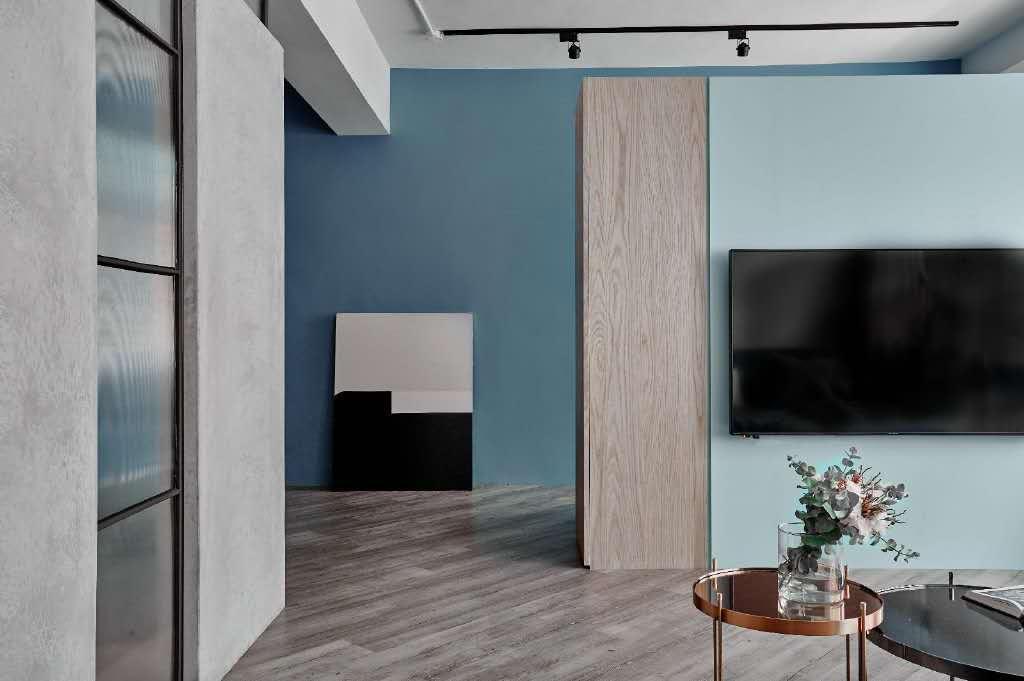 不一样的loft混搭风,蓝色与灰色打造的个性家居空间,简直不要太酷!