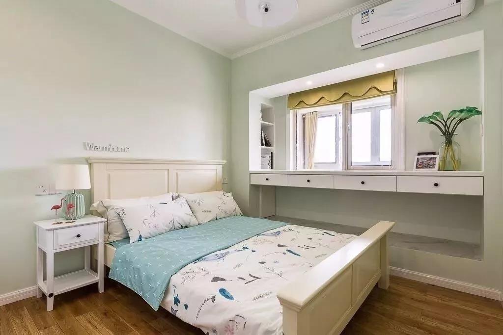 83m²现代美式风格小三居,清新优雅的蓝色显得空间温馨又浪漫!