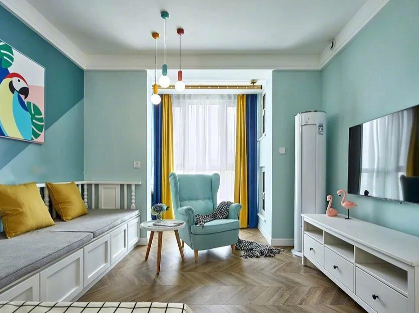 75平的北欧风小户型二居室,卡座也作为沙发,好实用