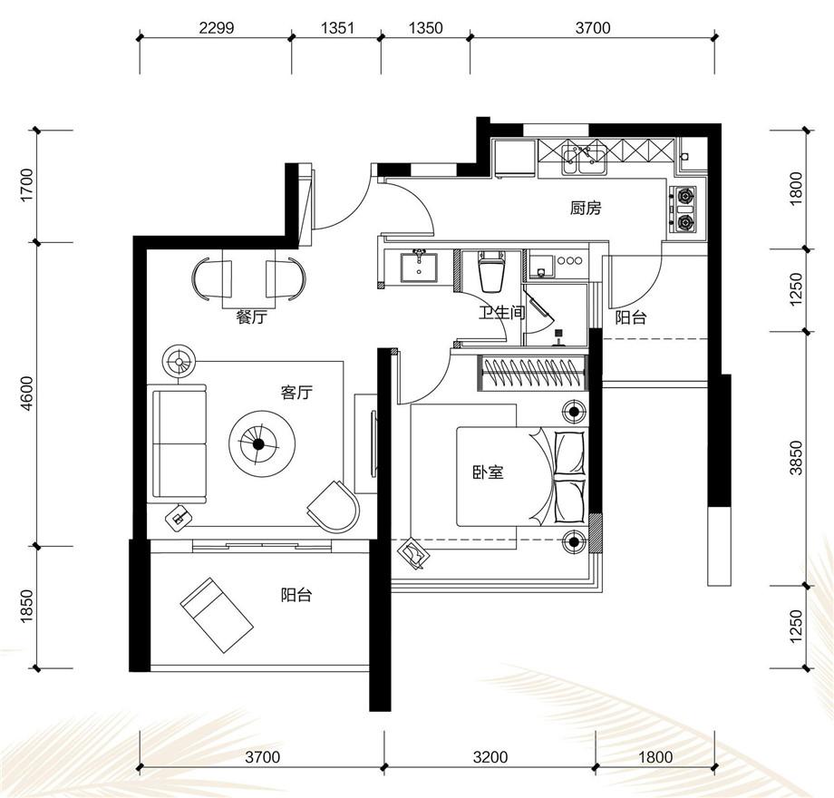 天津装修方案户型:三居 3#E户型