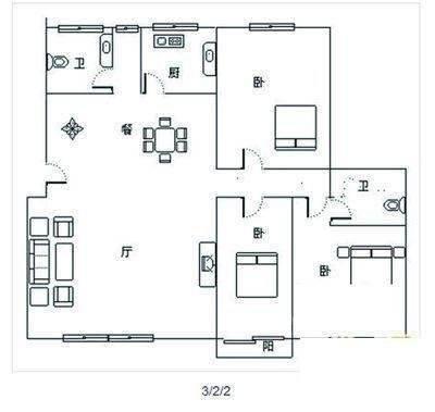 天津装修方案户型:三居 3#D户型
