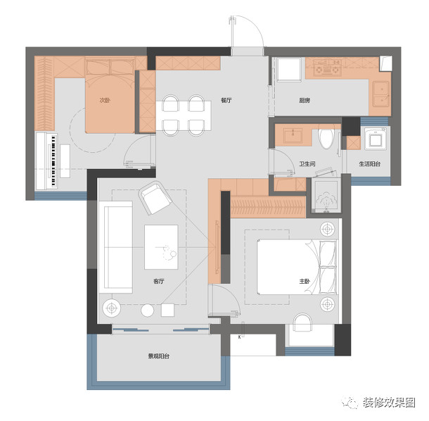 85㎡北欧混搭风2室2厅,高级灰营造优雅时尚感