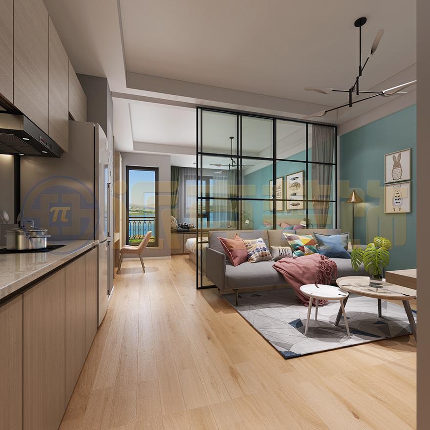 莫兰迪色系、简约风格家装、单身公寓装修-大连派克装饰