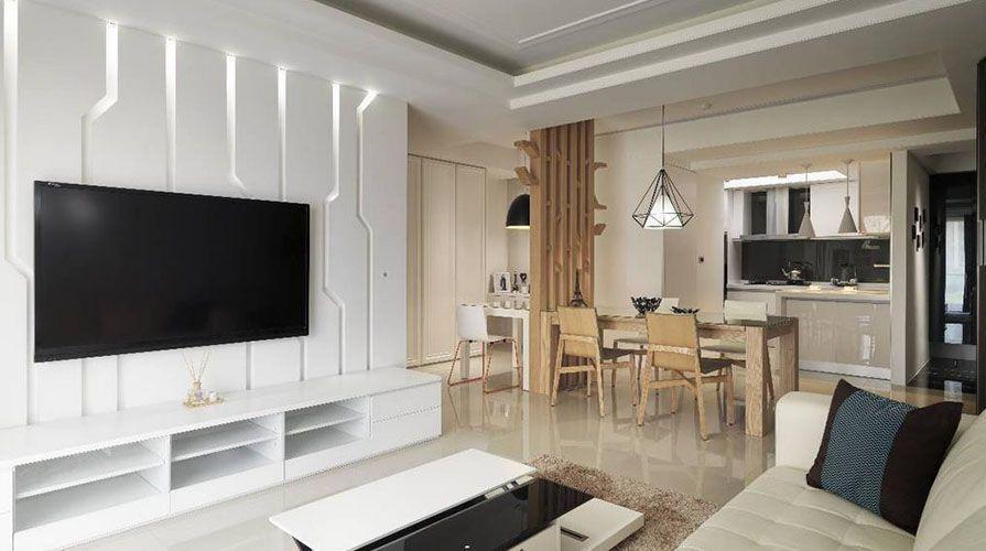 西安装修案例现代简约风格装修案例_西安浐灞半岛三居室120平装修效果图