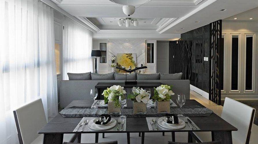 西安装修案例美式风格装修案例_西安湾流天悦三居室160平装修效果图