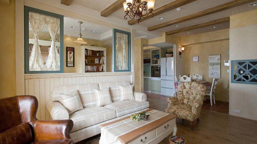 西安装修案例美式乡村风格装修案例_西安十里锦绣两居室90平装修效果图