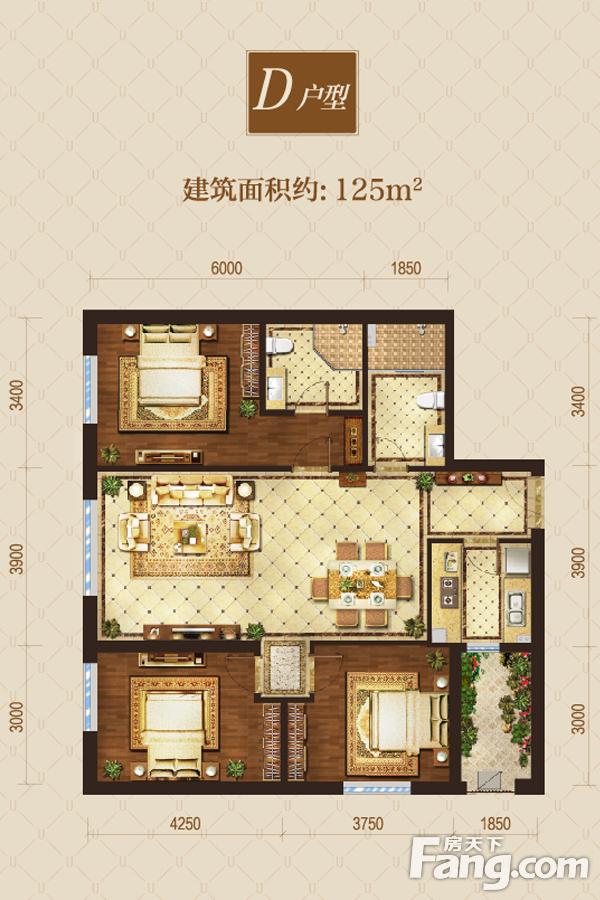 太原装修方案D户型|3室2厅2卫1厨
