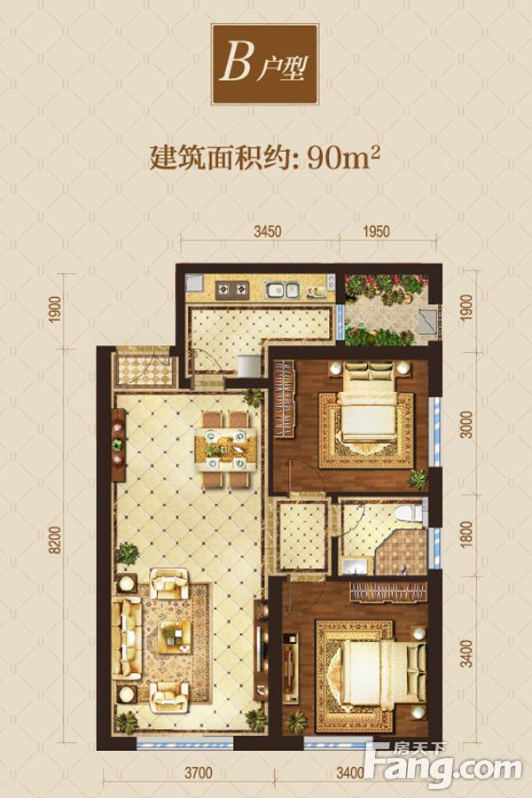 太原装修方案B户型|2室2厅1卫1厨