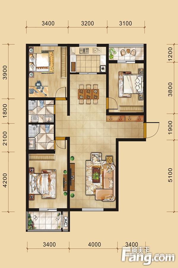 太原装修方案A户型 3室2厅2卫1厨