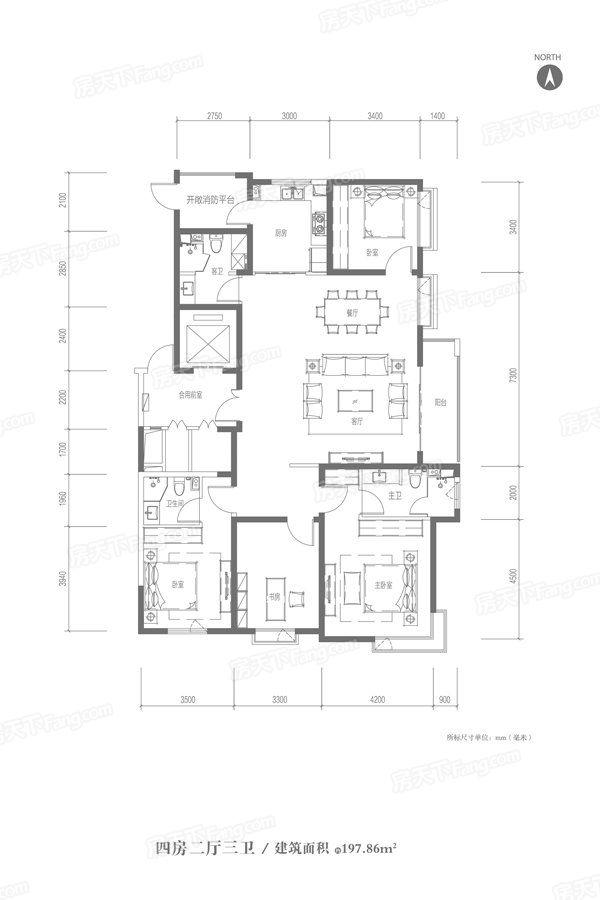 太原装修方案197.86㎡户型|4室2厅3卫1厨