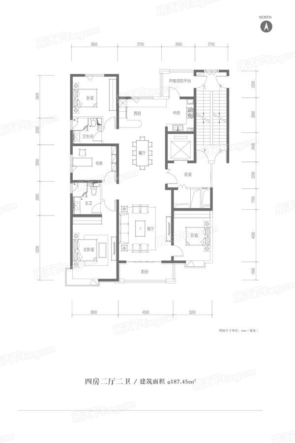太原装修方案187.45㎡户型|4室2厅2卫1厨