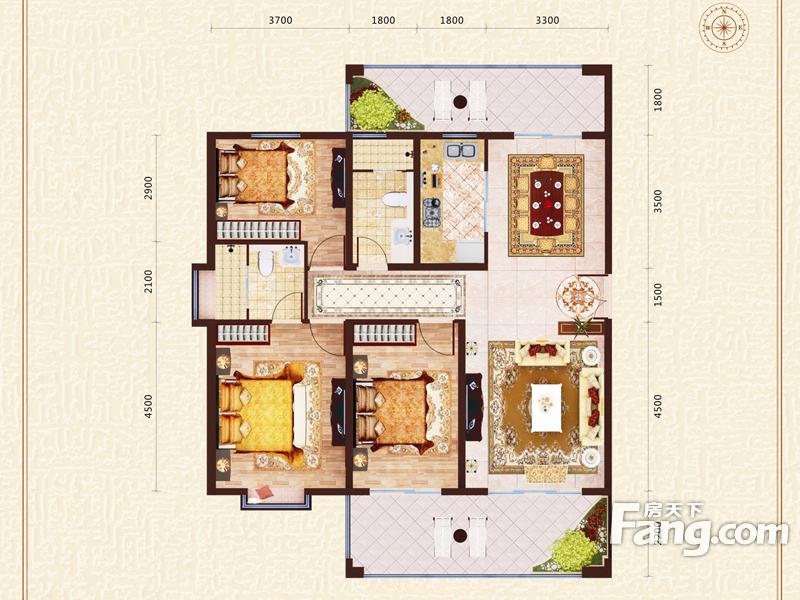 太原装修方案A8户型|3室2厅2卫1厨