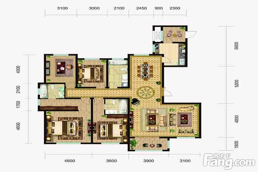 太原装修方案L3户型|4室2厅3卫1厨