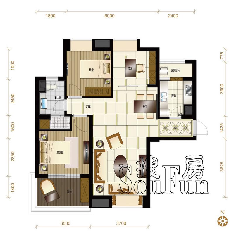 太原装修方案A1户型|3室2厅1卫1厨