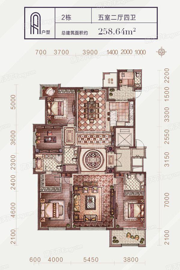 太原装修方案2-A户型|5室2厅4卫1厨