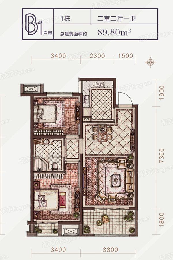 太原装修方案1-B1户型|2室2厅1卫1厨