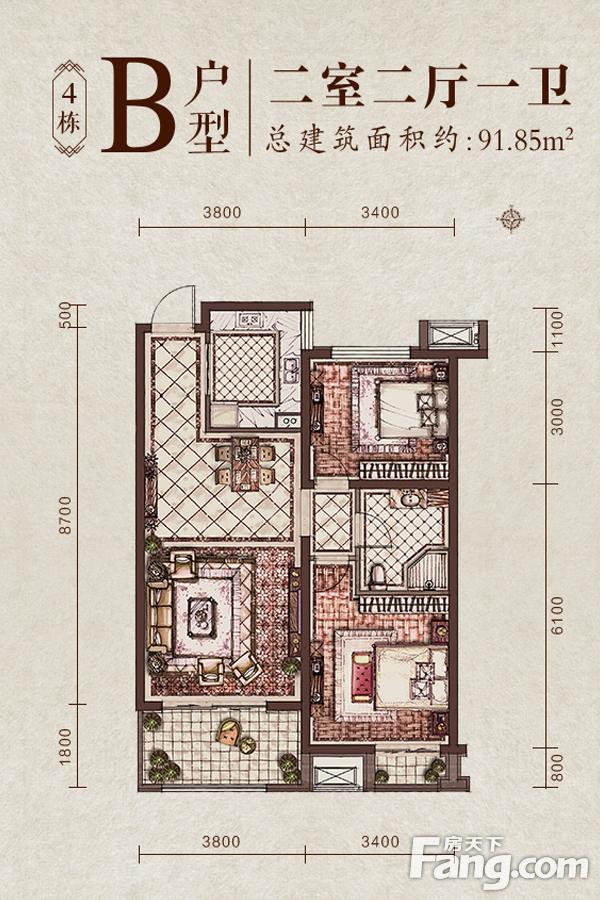 太原装修方案4#楼B户型|2室2厅1卫1厨