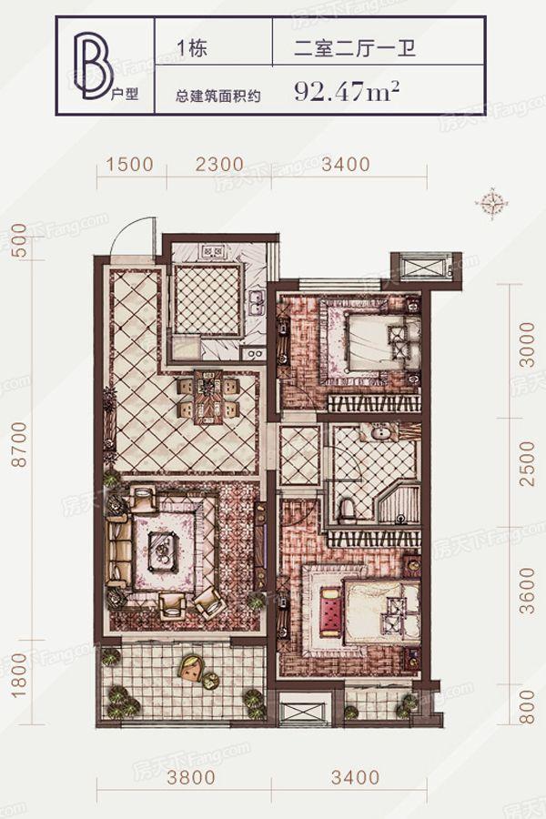 太原装修方案1-B户型|2室2厅1卫1厨