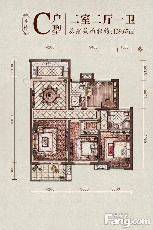 太原装修方案4#楼C户型|2室2厅1卫1厨