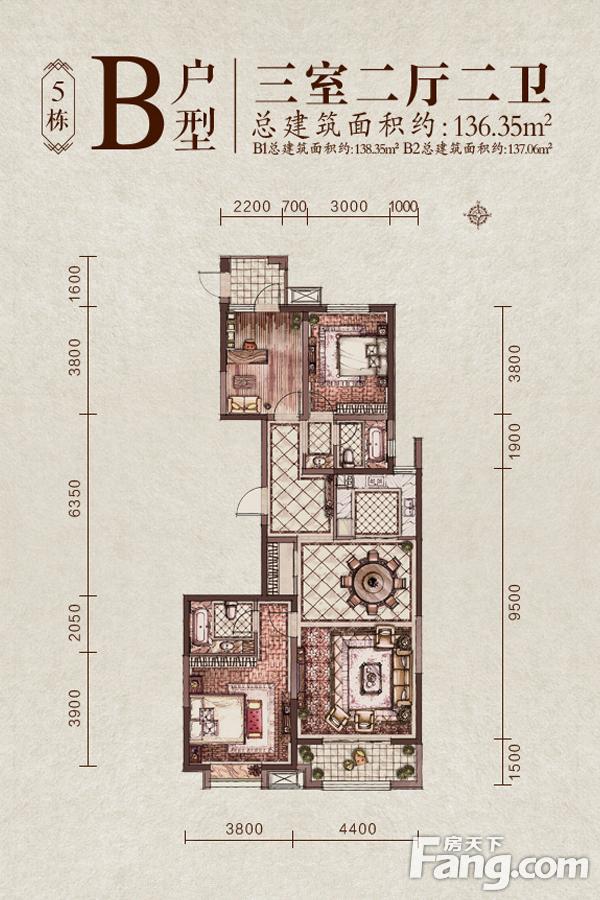太原装修方案5#楼B户型|3室2厅2卫1厨