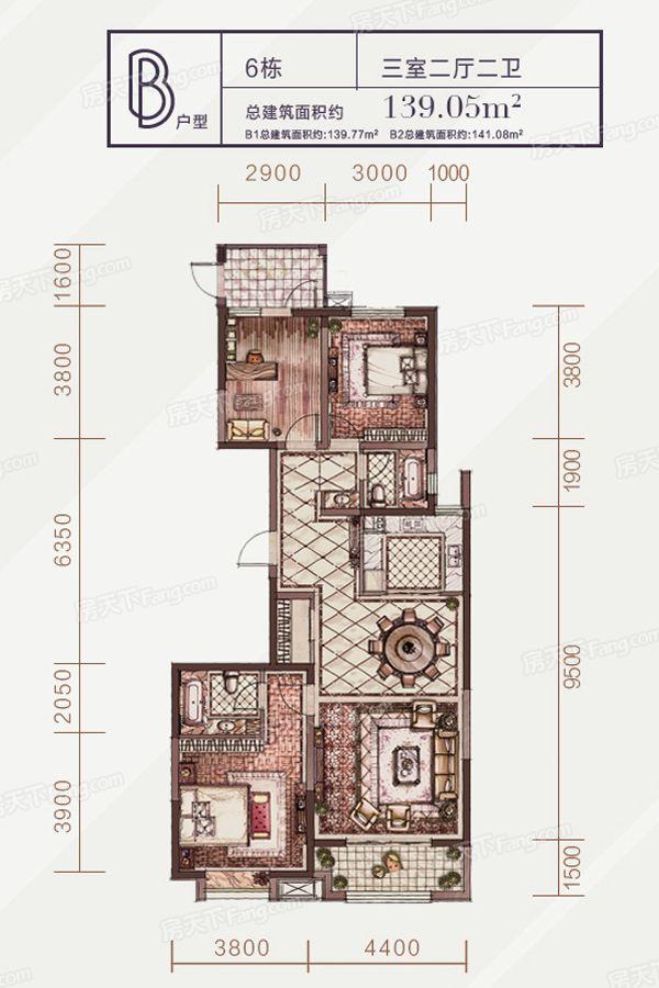 太原装修方案6#-B户型|3室2厅2卫1厨