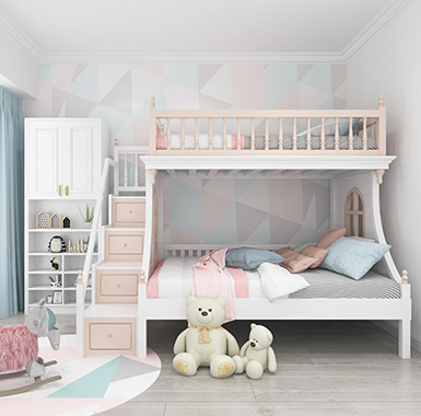 遵義市品筑生活 組合床進口樺木,304不鋼筋兒童雙層床 現代