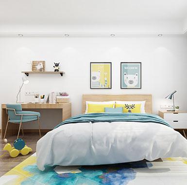 遵義市大至 現代中式櫸木+雜木多層板+五金兒童床環保