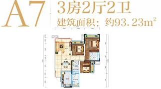 绵阳装修方案绵阳长虹天樾户型A7户型3室2厅2卫-93.23㎡