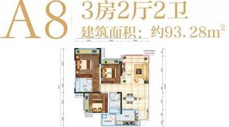 绵阳装修方案绵阳长虹天樾户型A8户型3室2厅2卫-93.28㎡