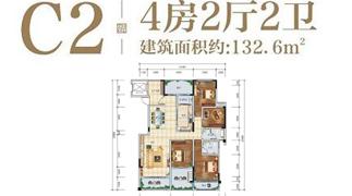 绵阳装修方案绵阳长虹天樾户型C2户型4室2厅2卫-132.6㎡