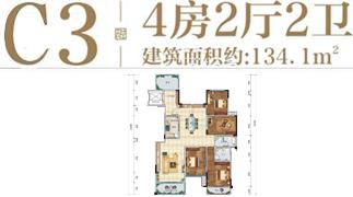 绵阳装修方案绵阳长虹天樾户型C3户型4室2厅2卫-134.1㎡