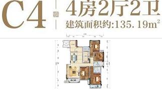 绵阳装修方案绵阳长虹天樾户型C4户型4室2厅2卫-135.19㎡