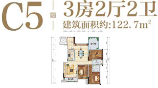 绵阳装修方案绵阳长虹天樾户型C5户型3室2厅2卫-122.7㎡