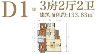 绵阳装修方案绵阳长虹天樾户型D1户型3室2厅2卫-133.83㎡