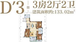 绵阳装修方案绵阳长虹天樾户型D-3户型3室2厅2卫-133.02㎡