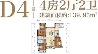 绵阳装修方案绵阳长虹天樾户型D4户型4室2厅2卫-139.95㎡
