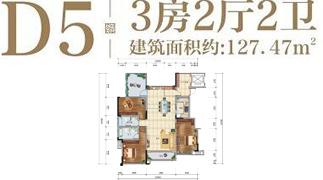 绵阳装修方案绵阳长虹天樾户型D5户型3室2厅2卫-127.47㎡