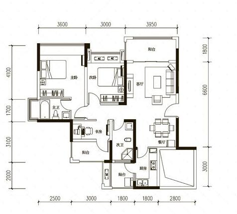 绵阳三汇英郡B1户型图3室2厅2卫-95.25㎡