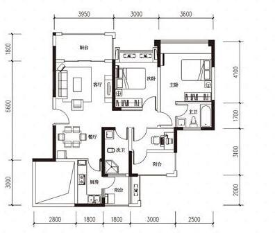绵阳三汇英郡B2户型图3室2厅2卫-95.25㎡