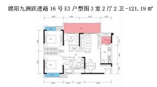 绵阳装修方案绵阳九洲跃进路16号E3户型图3室2厅2卫-121.19㎡