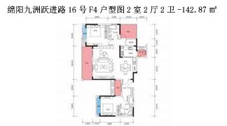 绵阳装修方案绵阳九洲跃进路16号F4户型图2室2厅2卫-142.87㎡