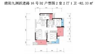 绵阳装修方案绵阳九洲跃进路16号D2户型图2室2厅1卫-82.33㎡