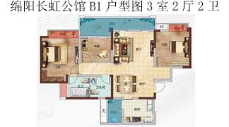 綿陽裝修方案綿陽長虹公館 長虹國際城4期B1戶型圖3室2廳2衛-106㎡