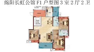 綿陽裝修方案綿陽長虹公館 長虹國際城4期F1 戶型圖3室2廳2衛-124.91㎡