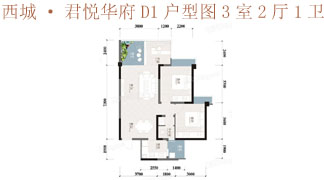 綿陽裝修方案綿陽西城·君悅華府D1戶型圖3室2廳1衛84.36㎡