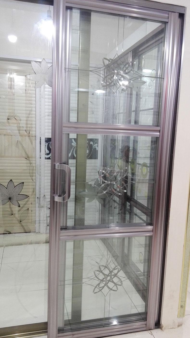 钛镁合金 单层玻璃推拉门-70凹弧