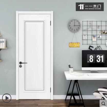 一一木门简约室内门实木复合油漆卧室套装门定制木门ZX-719